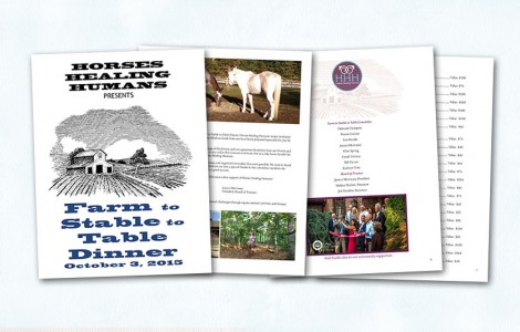 The first Horses Healing Humans Gala was held in October 2015 and CMB created the program guide and assisted with ad design and promotions. The event sold out and garnered revenue for this wonderful organization.